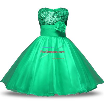Turquoise Ball Gowns Scoop Sleeveless Organza and Sequined Knee Length Zipper Belt and Hand Made Flower Toddler Flower Girl Dress