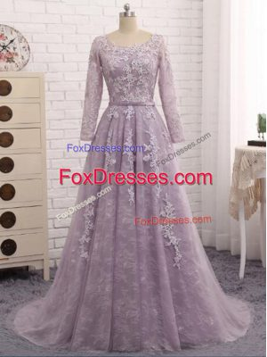 Shining Beading and Appliques Mother Of The Bride Dress Lavender Zipper Sleeveless Brush Train