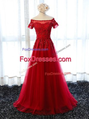 Colorful Red Tulle Lace Up Homecoming Dress Short Sleeves Floor Length Lace and Appliques