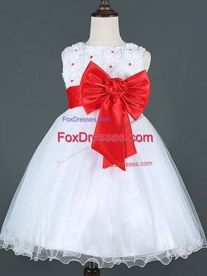 Exquisite A-line Toddler Flower Girl Dress White Scoop Tulle Sleeveless Knee Length Zipper
