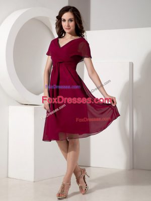 Fuchsia V-neck Zipper Ruching Mother Of The Bride Dress Short Sleeves