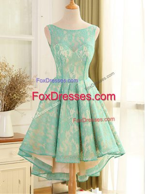 Top Selling Turquoise A-line Scoop Sleeveless Lace High Low Backless Lace and Appliques Prom Gown