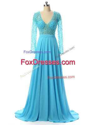 Baby Blue Long Sleeves Beading Zipper Mother of the Bride Dress