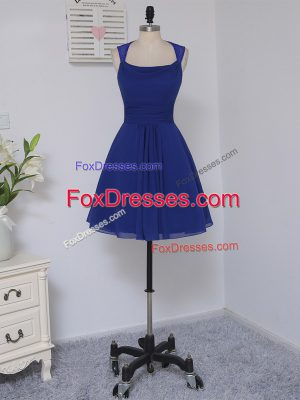 Gorgeous Straps Sleeveless Zipper Bridesmaids Dress Royal Blue Chiffon