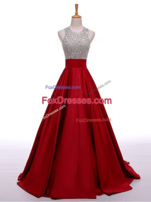 Sleeveless Elastic Woven Satin Backless Going Out Dresses in Wine Red with Beading