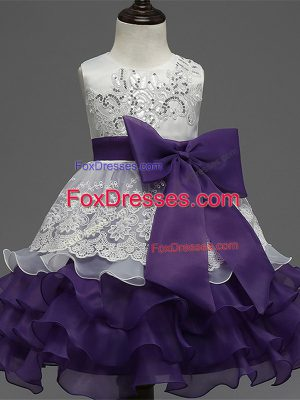 Elegant White And Purple Organza Zipper Toddler Flower Girl Dress Sleeveless Tea Length Lace and Ruffled Layers and Bowknot