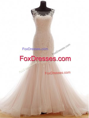 Affordable Lace Up Wedding Dresses Pink for Wedding Party with Lace Brush Train