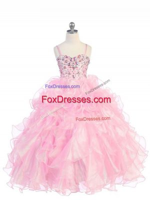 High Class Spaghetti Straps Sleeveless Organza Party Dress Wholesale Beading and Ruffles Lace Up