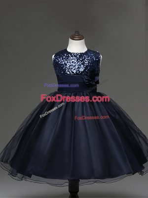 Amazing Navy Blue Scoop Zipper Sequins and Hand Made Flower Child Pageant Dress Sleeveless