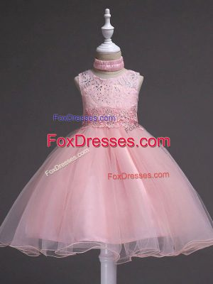 Latest Baby Pink Scoop Zipper Beading and Appliques Child Pageant Dress Sleeveless