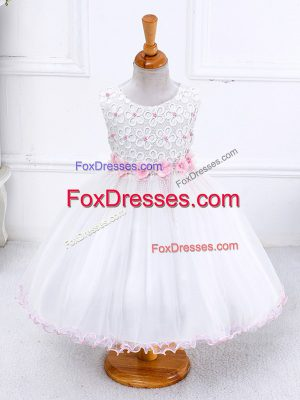 New Arrival Organza Scoop Sleeveless Zipper Appliques Little Girl Pageant Dress in White
