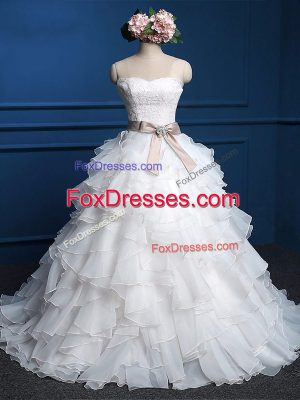 Elegant White Sweetheart Neckline Lace and Ruffles Wedding Dresses Sleeveless Lace Up