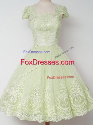 Yellow Green Cap Sleeves Knee Length Lace Zipper Bridesmaid Gown