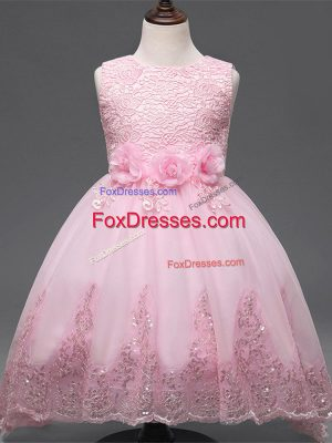 Scoop Sleeveless Kids Formal Wear High Low Lace and Appliques and Bowknot and Hand Made Flower Baby Pink Tulle