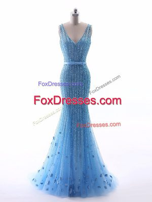 Fashionable Floor Length Zipper Evening Wear Baby Blue for Prom and Party and Military Ball and Sweet 16 with Beading and Belt and Hand Made Flower
