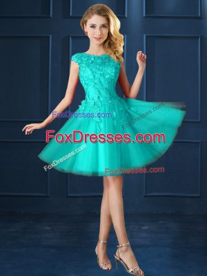 Knee Length Turquoise Vestidos de Damas Bateau Cap Sleeves Lace Up