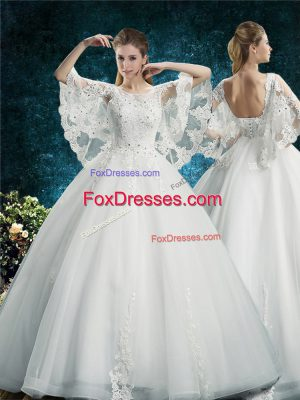 White Half Sleeves Lace Floor Length Wedding Dresses