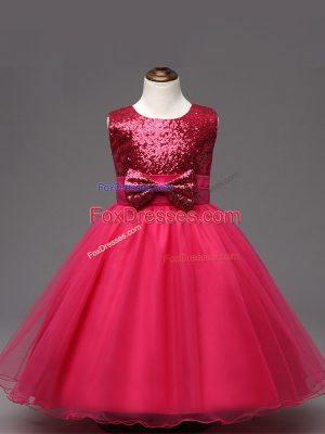 High Quality Hot Pink Sleeveless Tea Length Sequins and Bowknot Zipper Child Pageant Dress