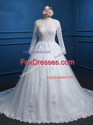 Sophisticated White Zipper Scoop Lace and Appliques Wedding Dress Tulle Long Sleeves Court Train