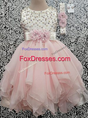 Fabulous Sleeveless Chiffon Asymmetrical Backless Flower Girl Dresses for Less in Baby Pink with Beading and Hand Made Flower
