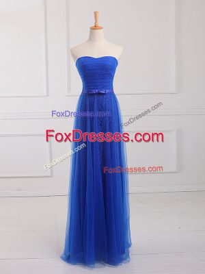 Floor Length Empire Sleeveless Royal Blue Vestidos de Damas Lace Up