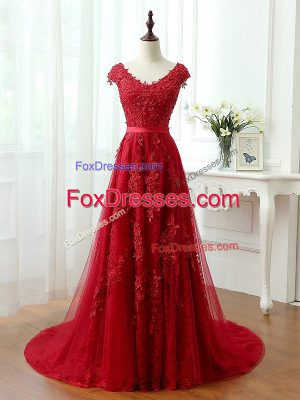 Attractive Red V-neck Lace Up Lace and Appliques Evening Dress Brush Train Cap Sleeves