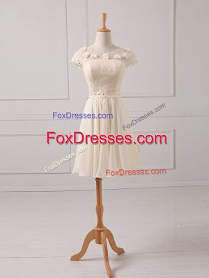 Unique Mini Length Lace Up Dama Dress Champagne for Prom and Party and Wedding Party with Lace and Appliques