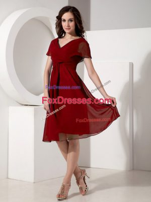 On Sale Red Short Sleeves Knee Length Ruching Zipper Mother Of The Bride Dress
