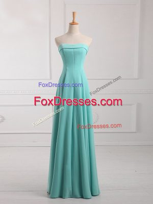 Best Selling Sleeveless Chiffon Floor Length Lace Up Quinceanera Dama Dress in Aqua Blue with Ruching