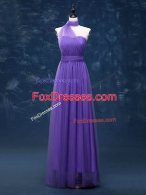 Lavender Empire Tulle Halter Top Sleeveless Ruching Floor Length Lace Up Vestidos de Damas