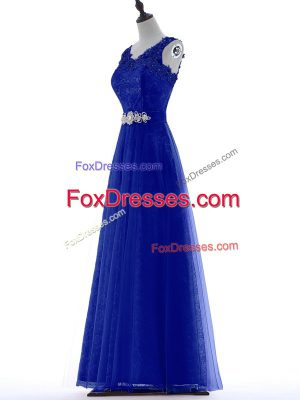 A-line Prom Party Dress Royal Blue V-neck Tulle Sleeveless Floor Length Zipper