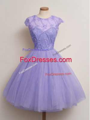 Scoop Cap Sleeves Lace Up Court Dresses for Sweet 16 Lavender Tulle