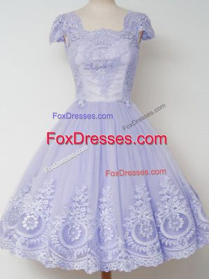 Square Cap Sleeves Tulle Court Dresses for Sweet 16 Lace Zipper