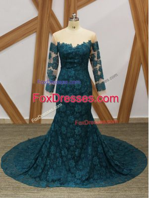 Comfortable Teal Long Sleeves Lace Mother of Groom Dress