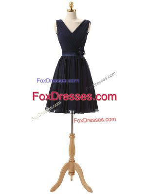 Navy Blue A-line V-neck Sleeveless Chiffon Mini Length Lace Up Hand Made Flower Wedding Party Dress