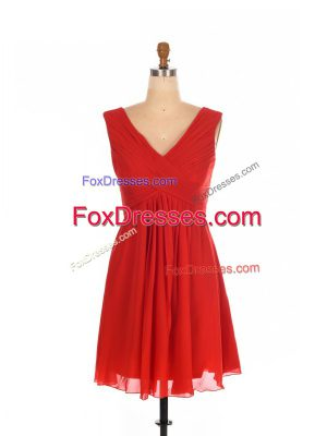 New Style Red One Shoulder Zipper Ruching Dama Dress Sleeveless