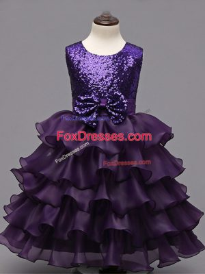 Modest Sleeveless Ruffled Layers and Sequins Zipper Girls Pageant Dresses