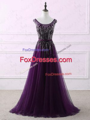 Hot Sale Eggplant Purple Tulle Zipper Scoop Sleeveless Prom Gown Sweep Train Appliques and Embroidery