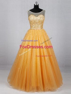 Deluxe Gold Prom Gown Prom and Party with Beading and Sequins Scoop Sleeveless Lace Up