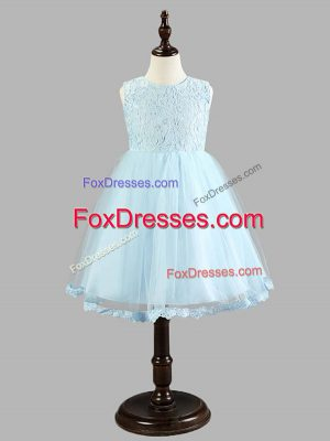 Light Blue A-line Lace and Bowknot Toddler Flower Girl Dress Zipper Tulle Sleeveless Knee Length