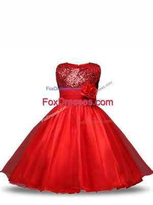 Red Ball Gowns Sequins and Hand Made Flower Party Dress for Girls Zipper Organza Sleeveless Knee Length