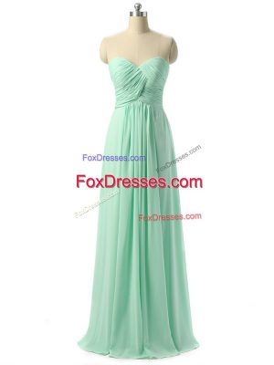 Apple Green Chiffon Lace Up Sweetheart Sleeveless Floor Length Court Dresses for Sweet 16 Ruching