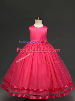 Latest Hot Pink Ball Gowns Hand Made Flower Toddler Flower Girl Dress Zipper Tulle Sleeveless Floor Length