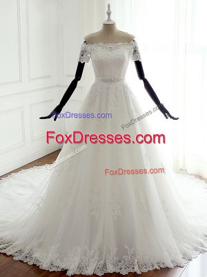 Sleeveless Court Train Lace Lace Up Wedding Gowns