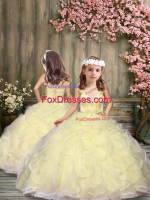 Light Yellow Sleeveless Floor Length Beading and Ruffles Lace Up Party Dress Wholesale