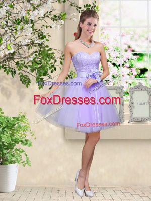 Excellent Sweetheart Sleeveless Tulle Dama Dress Lace and Belt Lace Up