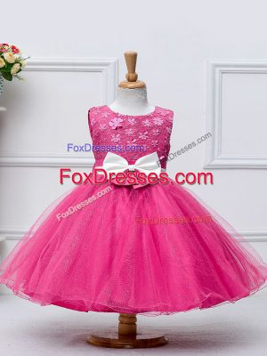 Knee Length Hot Pink Toddler Flower Girl Dress Tulle Sleeveless Lace and Bowknot