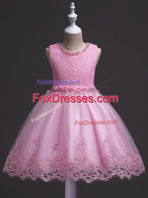 Fantastic Rose Pink Ball Gowns Scoop Sleeveless Tulle Knee Length Zipper Lace Girls Pageant Dresses