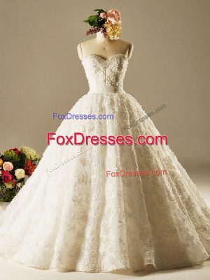 Cute White Wedding Dress Wedding Party with Beading and Lace Sweetheart Sleeveless Brush Train Lace Up