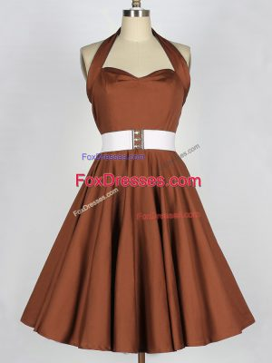 Taffeta Sleeveless Knee Length Quinceanera Dama Dress and Belt